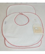 Paty Inc 15H153 Bib And Burp Set Solid White With Red Picot Trim - $29.99