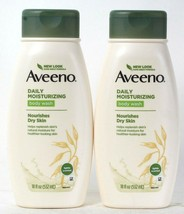 2 Count Aveeno 18 Oz Daily Moisturizing Nourishes Dry Skin Light Scent Body Wash - $28.99