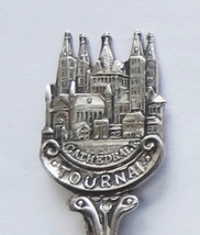 Collector Souvenir Spoon Belgium Tournai Cathedral of Our Lady Figural  - $14.99