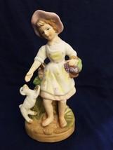 VINTAGE PORCELAIN Figurine Girl with dog, barefoot, bonnet - $5.94