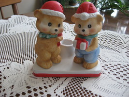 Christmas Teddy Figurine-Taper Holder-Beacon Hill-Bisque-Hand Painted-19... - $9.00