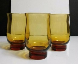 Set of 3) Vintage LIBBEY Amber TULIP 14 Oz Flat Tumblers Circa 1970s - $7.13