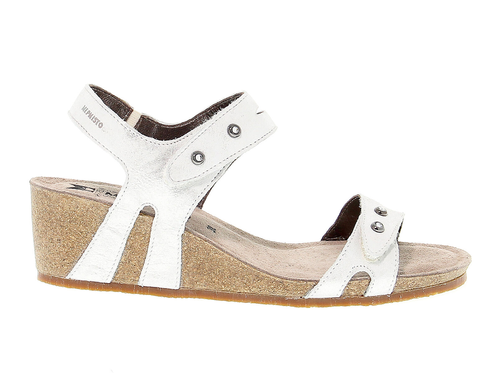 Heeled sandal MEPHISTO MINOA A in silver suede leather - Women's Shoes