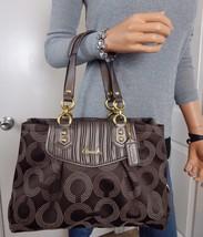 L/N COACH Ashley Dotted Op Art Brown Jacquard Leather Shoulder Bag F20056 - $89.09