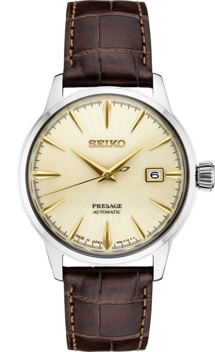 New Seiko Presage Champagne Dial Leather Strap Men's Watch SRPC99