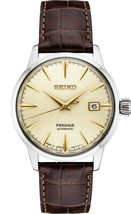New Seiko Presage Champagne Dial Leather Strap Men's Watch SRPC99 - $450.00