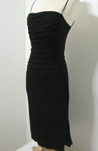 Elie Tahari Dress Black Rayon Silk Blend Ruched Dual Spag Strap Stretch 8  - $152.99