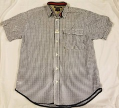 Tommy Hilfiger Tommy Jeans Checkered White Button Up Shirt Mens Medium S/S - $13.22