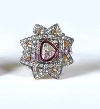 Vintage Style !!1.32 Ct Rose Cut Diamond 925 Silver Polky Party Ring CJU... - $5.849,57 MXN