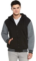 Men's Hooded Soft Sherpa Fleece Lined Varsity Zip Up Two Tone Hoodie Jacket image 2