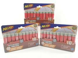 3 Nerf Accustrike Mega Dart Series Refill 10 Count Red Foam Darts Hasbro Toy NEW - $29.69