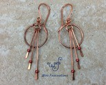 Handmade copper earrings small hoops three long dangles mettalic red beads front thumb155 crop
