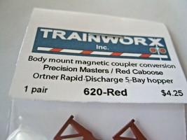 Trainworx Stock #620-Red Body Mount Coupler Precision Masters/Red Caboose image 2