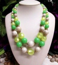 Vintage 2 Strand Green & Yellow Moonglow Lucite Beaded Necklace  - $20.86