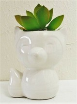 Faux Succulent Cactus in White Fox Pot - CUTE MINI DECOR! - $12.95