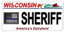 Wisconsin NOVELTY License Plate Law Enforcement - Sheriff w Blue Line US... - $12.82