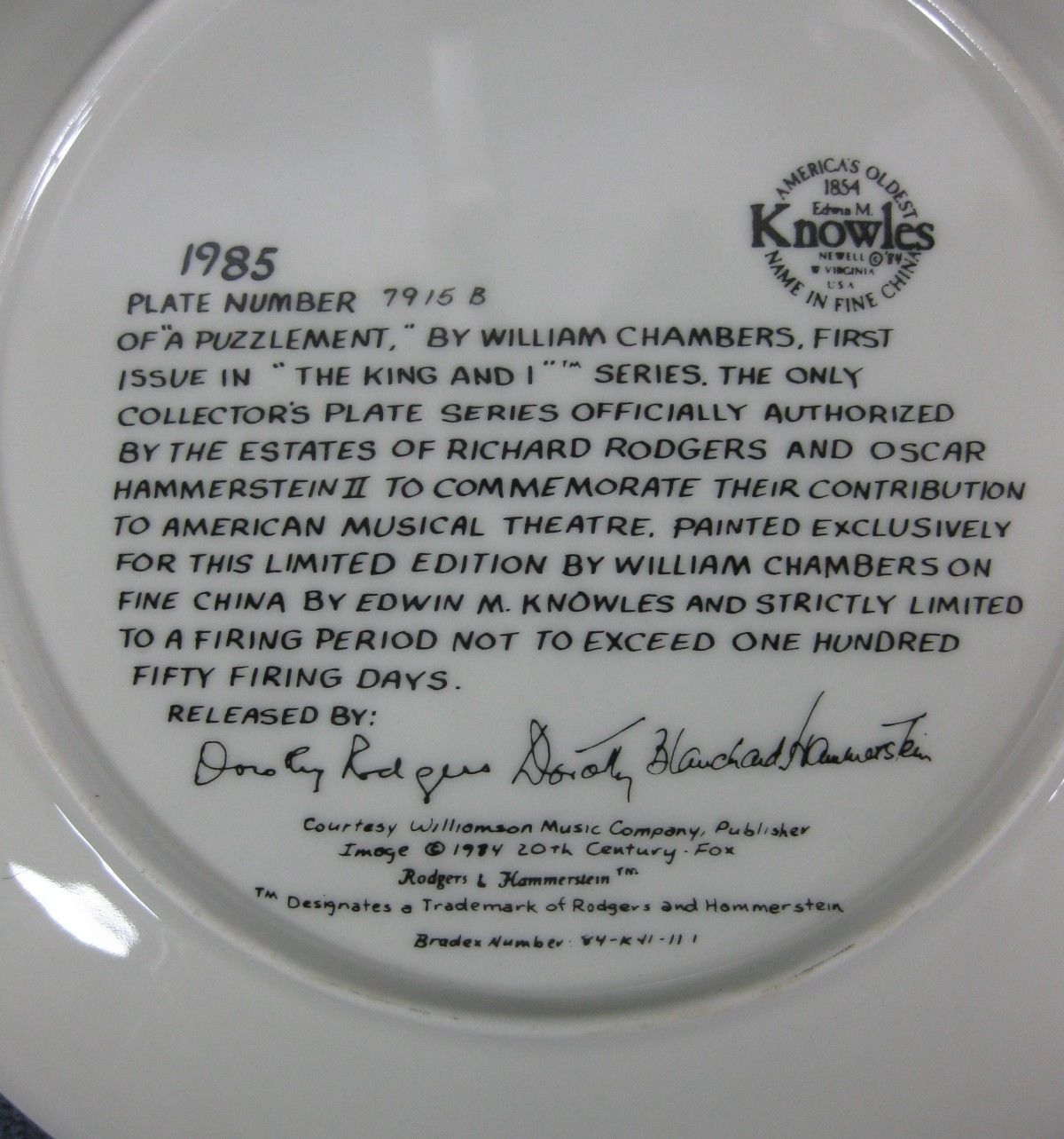 A Puzzlement The King And I Knowles Collector Plate William Chambers 1985