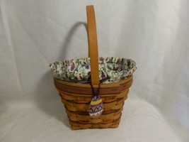 1996 LONGABERGER tall Easter BASKET w fabric pansy liner, egg tie on - combo - $29.99