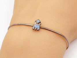 925 Sterling Silver - Vintage Petite Turquoise Peyote Bird Cuff Bracelet... - $23.38