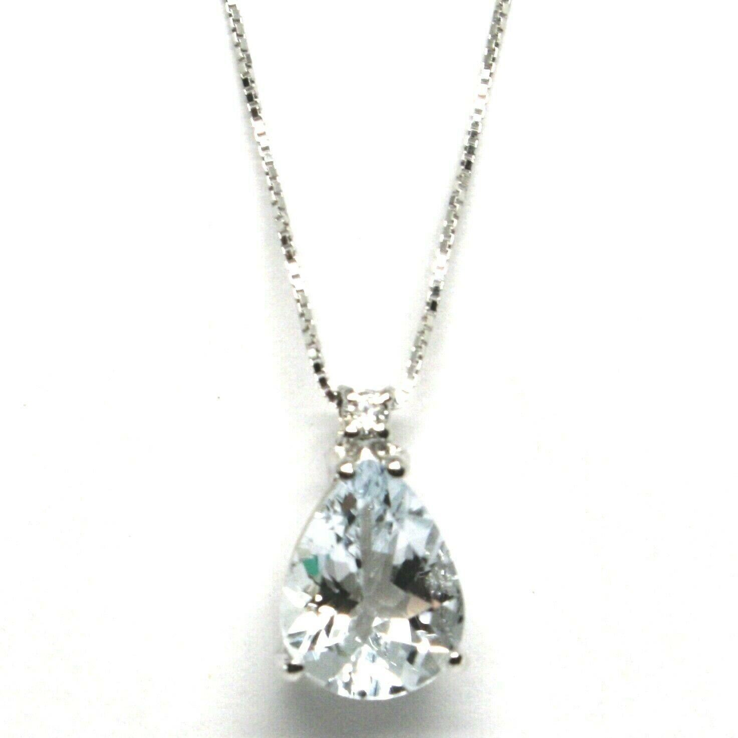 Collar con Colgante Oro Blanco 750 18K, Aguamarina Talla 16 Gota, Diamante