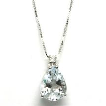 Collar con Colgante Oro Blanco 750 18K, Aguamarina Talla 16 Gota, Diamante - $250.04+