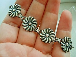 Antique Sterling Silver, Vintage Art Nouveau Flower Panel Link Bracelet ... - $35.64