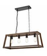 Light Society LS-C262-WL Bristol Walnut Wood Pendant Lamp Chandelier wit... - $89.99