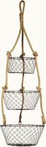 3 Tier Hanging Brown Wire & Rope Large Fruit Baskets Storage Kitchen Decor - $31.59