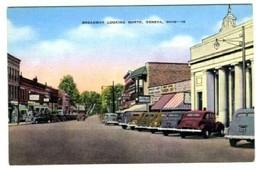 Broadway Looking North in Geneva Ohio Linen Postcard - $9.90