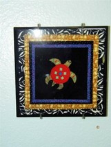 Turtle Two Tile Trivet Robin Bowman Designs Fabric Collage 12356 Wall Mount - $24.74
