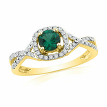 10k Yellow Gold Round Lab-Created Emerald Solitaire Diamond Fashion Ring... - £231.56 GBP