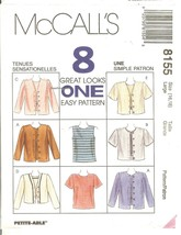 McCall's 8155 Fast & Easy Misses' Top & Jacket in 2 Lengths L (16-18) UN... - $8.47