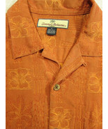 GORGEOUS Tommy Bahama Copper-Orange and Gold Floral 100% Silk Hawaiian S... - $44.99