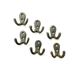 Small Old Style Cast Iron Double Robe / Coat Hook Set of 6 Rustic Brown - $14.84