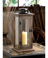 LODGE RUSTIC WOODEN Candle Lantern Table Centerpiece Home Decor - $30.99