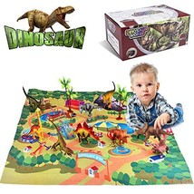 Villana Dinosaur Toys, Dinosaur Figures w/ Activity Play Mat & Trees, Dinosaur P