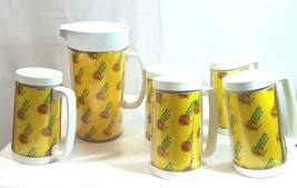 Vintage Thermo Serv Pitcher and Mug Set Tombstone Pizza 5 Mugs - $26.68
