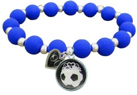 Custom Soccer Princess Silicone Stretch Bracelet Choose Number Team Colo... - $14.24