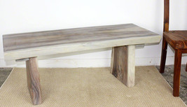 Natural Edge Wood Bench 48 x 17 to 20 x 18 inch H ships KD in Agate Grey... - £236.70 GBP