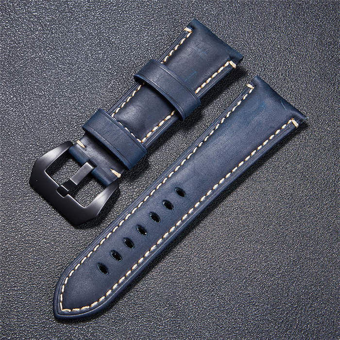 High Quality Vintage Crazy Horse Genuine Leather Watchband Red Blue Brown Watch  image 3