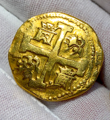 Primary image for PERU 8 ESCUDOS 1741 RAW BOLD DETAILS PIRATE GOLD COINS TREASURE JEWELRY COB