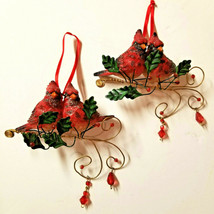 Pretty Red Cardinal Birds on Gold Branch Christmas Ornaments set/2 - $9.89
