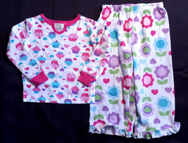 Girl's Size 2T 2 T Two Piece White Cupcake L/S Top, Floral Pants Pajama Set - $11.50
