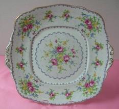 PETIT POINT Royal Albert TAB HANDLED CAKE COOKIE TRAY Bone China England... - $20.60