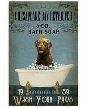 Chesapeake Bay Retriever Take A Shower, Poster For Bathroom, Gift For Fa... - $25.59+