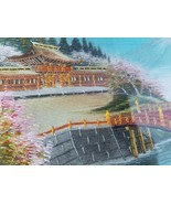 War Era Embroidered Picture Panel Scenery Japan Landscape Bridge Mtn Min... - $146.82