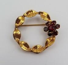 "Vintage Gold Tone Circle Brooch with Garnets Floral Design 1 1/4"" Diameter - $24.74"