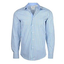 Men's Checkered Plaid Dress Shirt - Light Blue, Large (16-16.5) Neck 34/35 Sleev