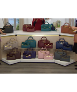 JOY & IMAN Couture Leather Satchel & Clutch with Velvet Detail - $59.95