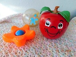 (3)VINTAGE 1972 FISHER PRICE HAPPY APPLE #435 1977 SANDY STAR FISH #623 ... - $34.65